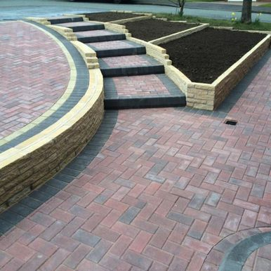 paved patio and steps